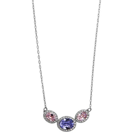 Swarovski Christie Pink Purple Oval Crystals Pendant Necklace for Women 5141926 Toe Brights Swarovski Crystal
