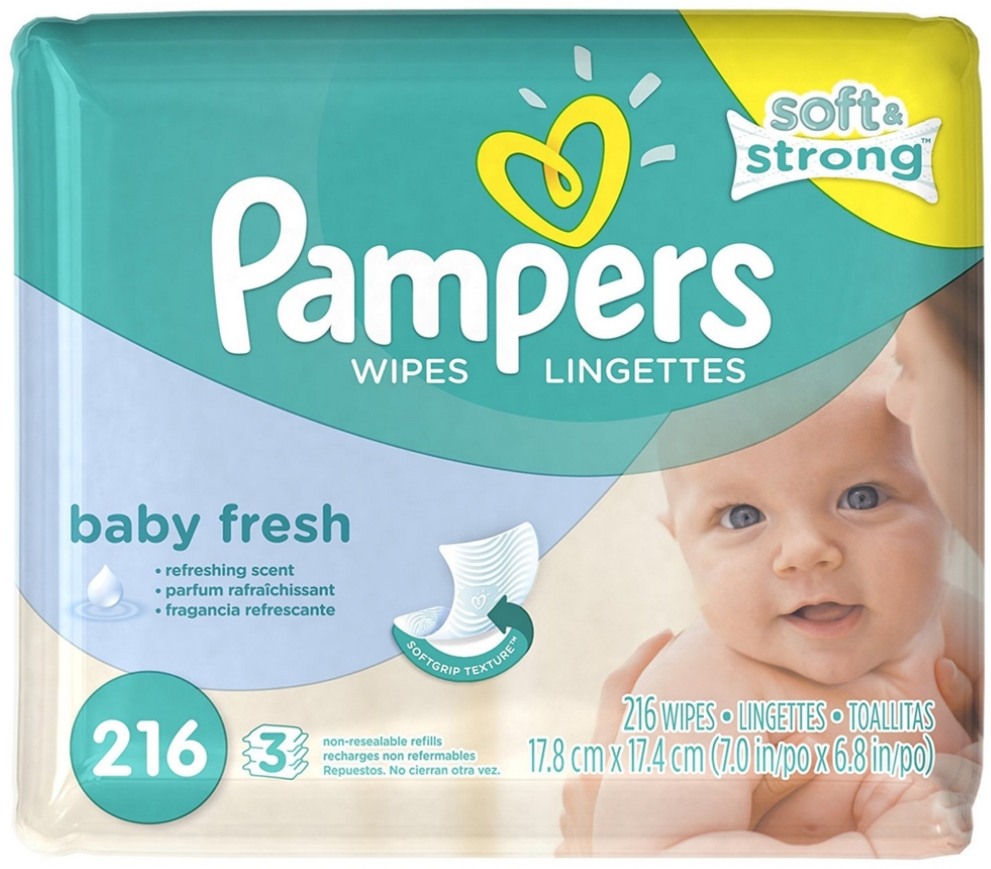 3 Pack Pampers Soft Care Baby Wipes Refills, Baby Fresh 216 ea by Pampers