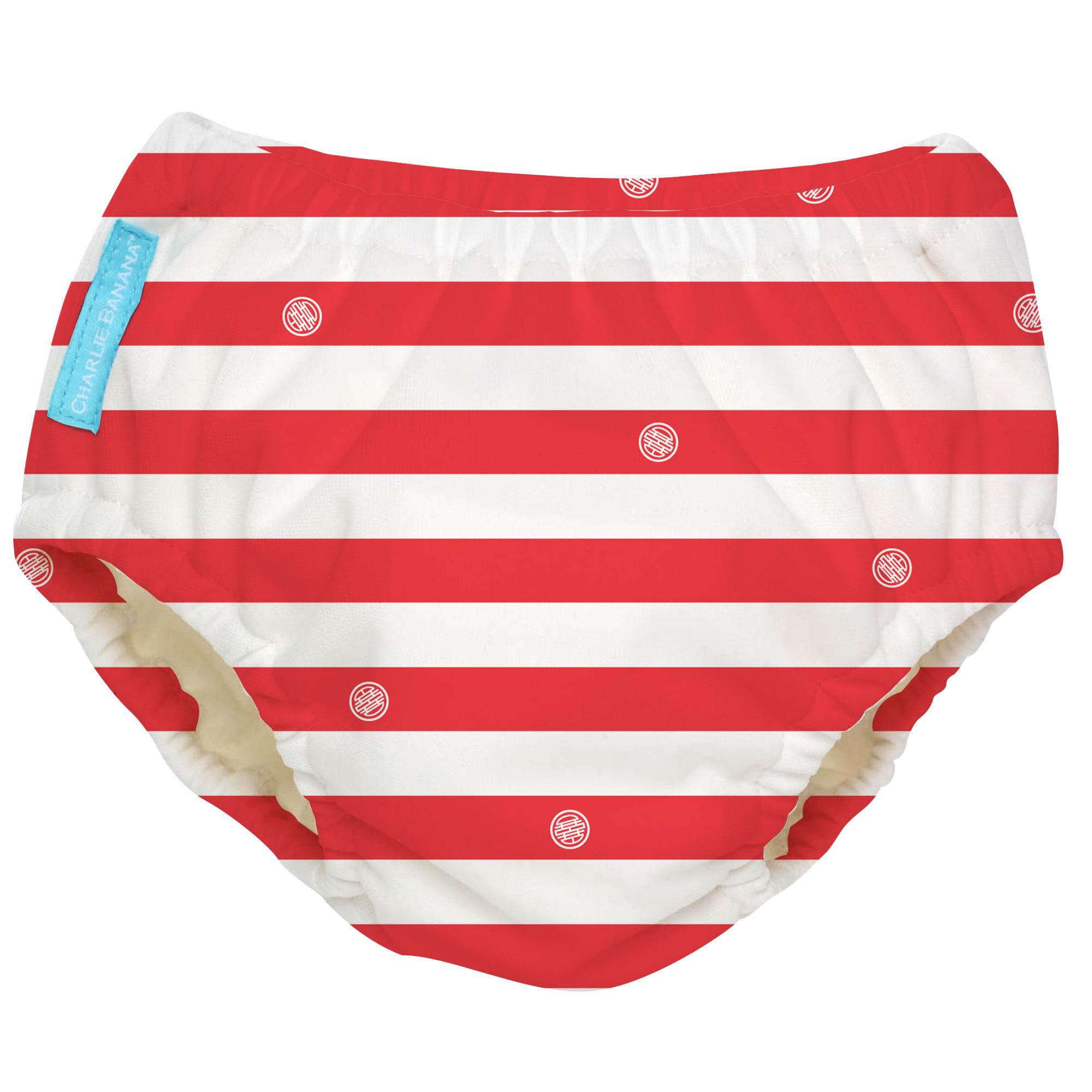 Charlie Banana Extraordinary Reusable Swim Diaper, Red Stripes, Medium