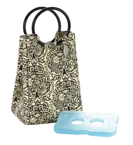 Fit and Fresh Retro Designer Lunch Bag in B&W Damask with Ice