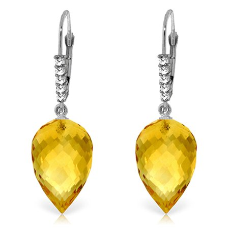 Citrine Briolette Earrings (ALARRI 19.15 CTW 14K Solid White Gold Drop Briolette Citrine Diamond Earrings.)
