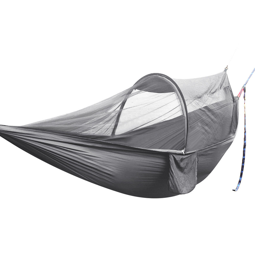 GHP 600-Lbs Capacity Grey Portable Foldable Anti-mosquito Hammock with Packing Bag