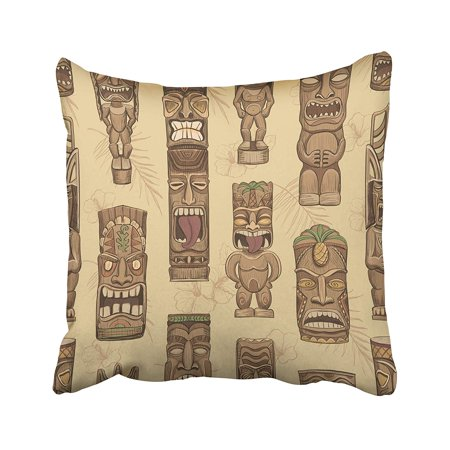 ARHOME Brown Bar Collection of Wooden Tiki Idols Hawaii Mask Luau Tattoo Tropical Aloha Pillow Case Pillow Cover 18x18 inch Throw Pillow Covers