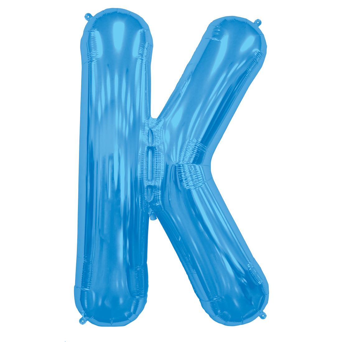 """Northstar Alphabet Letter K Shape Solid Jumbo Helium 34"""" Foil Balloon, Blue"""