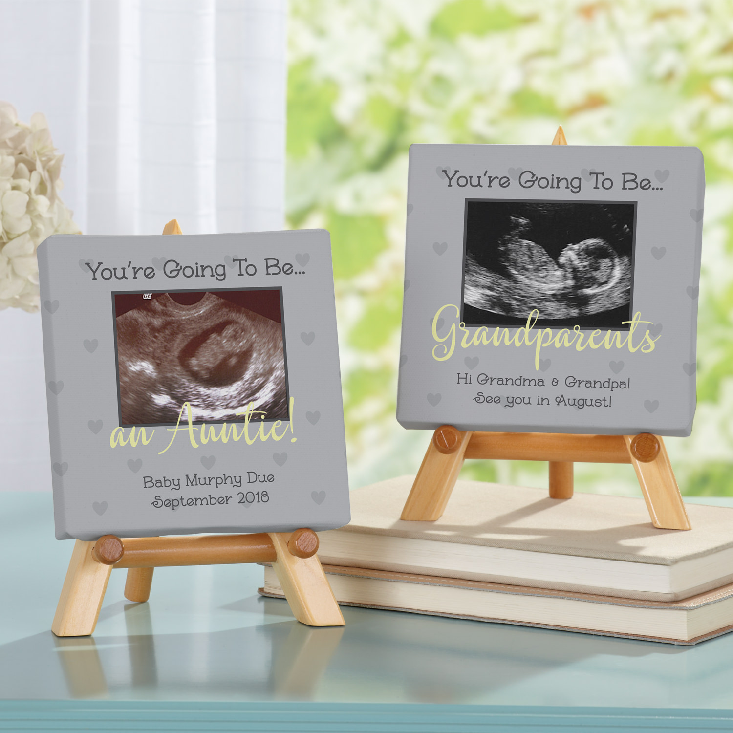 Personalized Ultrasound Announcement Photo Canvas with Easel
