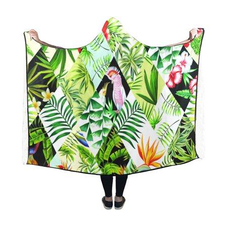 HATIART Hooded Blanket Birds And Flowers Indoor Pilling Polar Fleece Blanket Wearable Blankets 50x60 inch - image 2 of 3