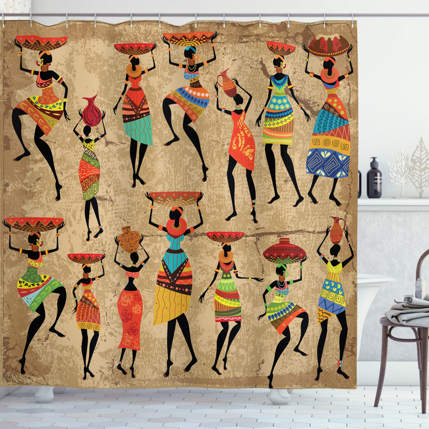 African American Art Decor Afrocentric Women In Tribal Dresses Shower Curtain Walmart Com Walmart Com