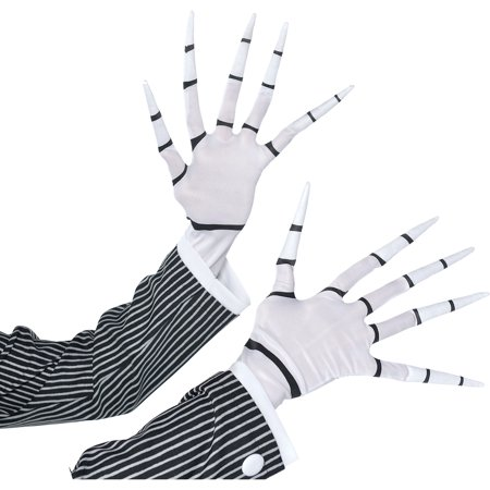 Jack Skellington Gloves for Adults, Halloween Costume Accessories, One - Female Jack Skellington
