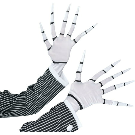 Jack Skellington Female Costume (Jack Skellington Gloves for Adults, Halloween Costume Accessories, One)