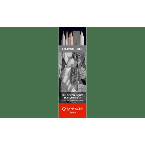 Caran D Ache Multi Techniques Sketching Set Graphite Charcoal Art Materials With Metal Storage Box Walmart Com Walmart Com