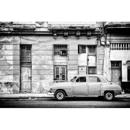 Cuba Fuerte Collection B&W - Old White Car in Havana Print Wall Art By Philippe Hugonnard