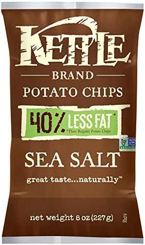 Kettle Brand 40% Reduced Fat Potato Chips, Sea Salt, 8 Oz by Snyder's-Lance