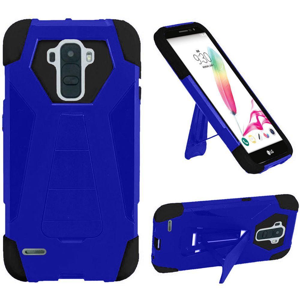 For LG Stylo 2 LS775 Hybrid T Kickstand - Dark Blue+Black