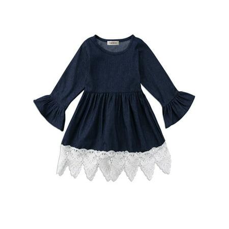 Girls Denim Dresses (stylesilove Cute Denim Bell Sleeve Lace Trim Kids Girl Dress (100/3-4)