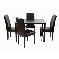 SK New Interiors Dining Kitchen Set of 5 Rectangular Table and 4 Side Fallabella Chairs Solid Wooden, Espresso