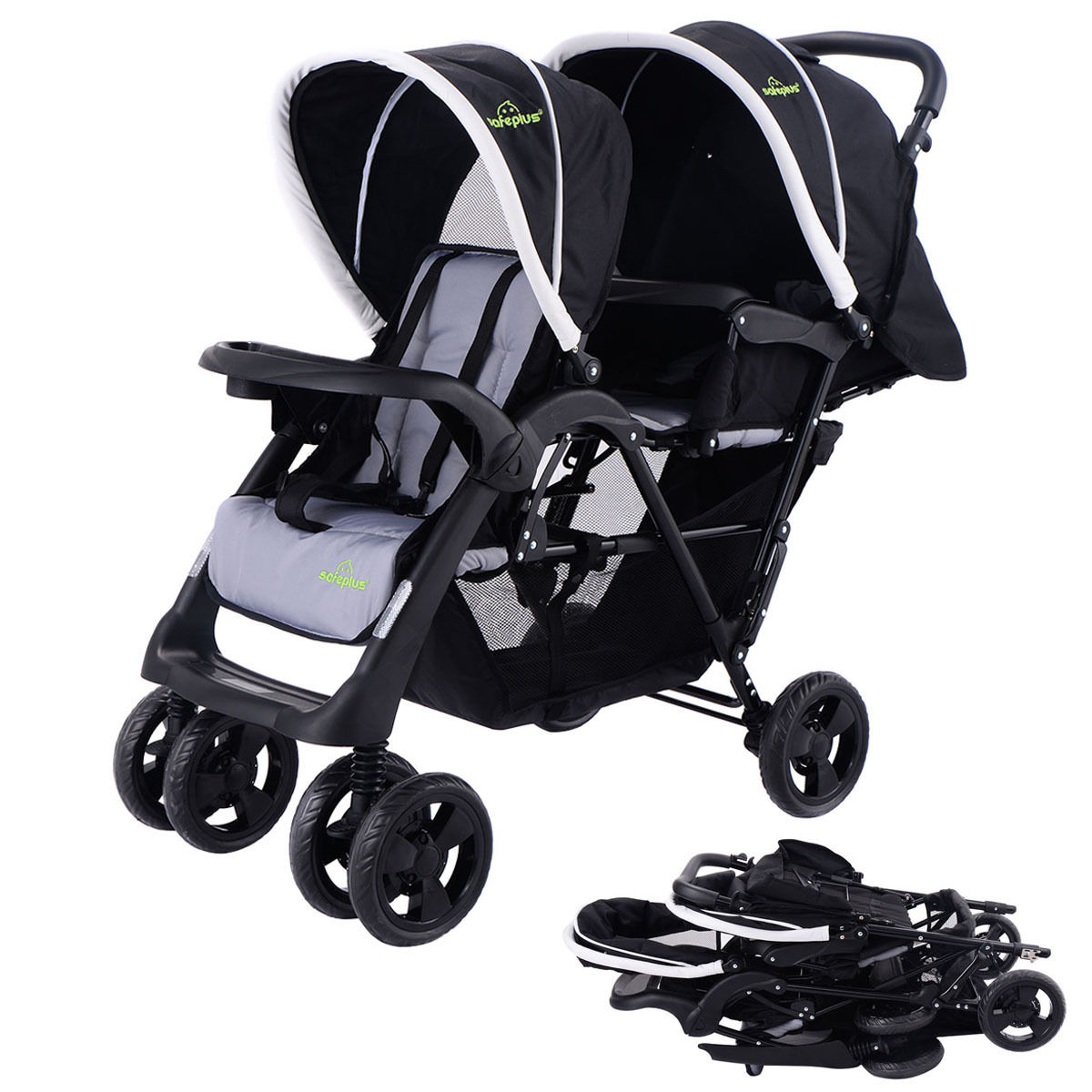 Costway Foldable Twin Baby Double Stroller Kids Jogger Tr...