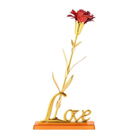 24k Gold Gilt (Tinymills Mothers Day Gift Carnation 24K Foil Gold Plated Long Stem Artificial Rose Flower)