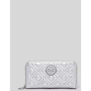 Tory Burch Marion Quilted Silver Leather Wallet Multi-gusset Zip Continental (Tory Burch Silver)