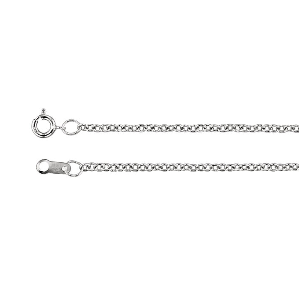 1.5mm Platinum Solid Cable Chain Necklace by Black Bow Jewelry Company