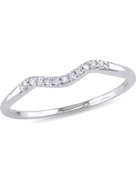 Diamond-Accent 10kt White Gold Curved Wedding Band