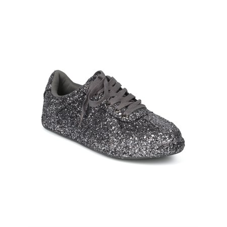 New Women Glitter Encrusted Bling Low Top Lace Up Sneaker - 17980 By Wild Diva (Bling Wedding Shoes)