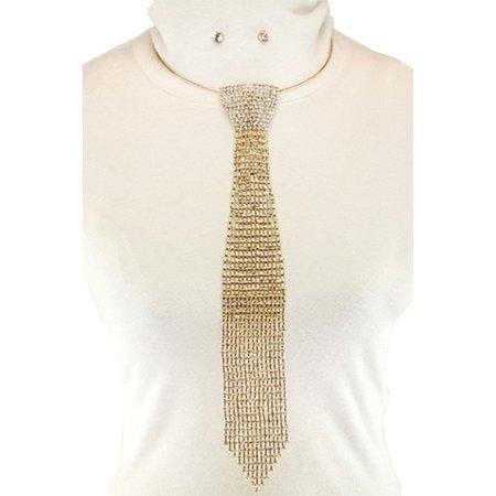 Womens Crystal Steel Metal Slim Necktie Necklace Set JKN2957-Gold