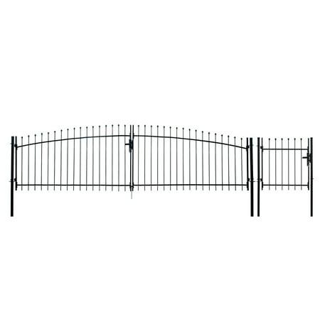ALEKO DIY Steel Dual Swing Driveway Gate Kit - ATHENS Style - 13 x 5 Feet with Pedestrian Gate - 3 x 5 Feet