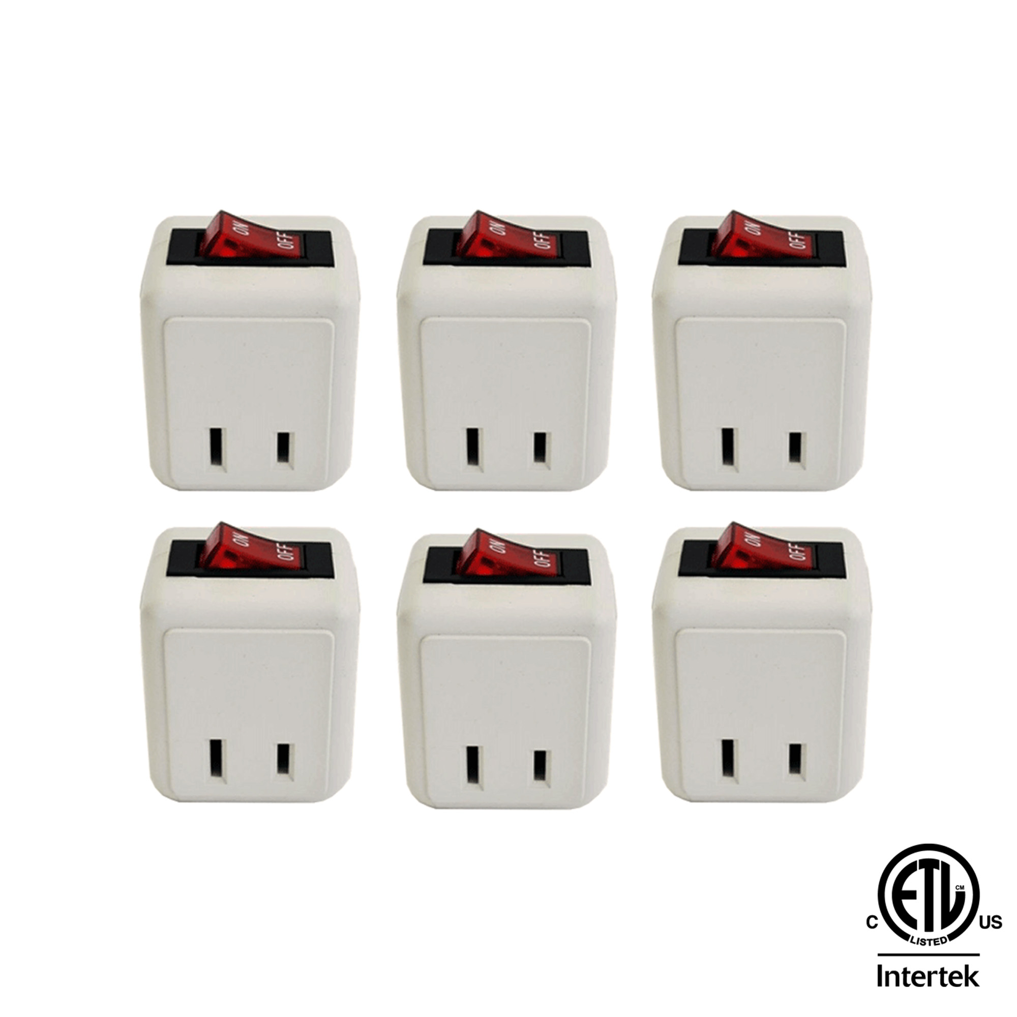 (6-Pack) Uninex Wall Tap Outlet W/Turn ON/OFF Switch Power Adapter 2 prong Plug Without Unplugging Cords ETL