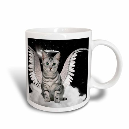 Halo And Angel Wings (3dRose Gray Tabby Cat Angel Sitting on a Cloud with a cute Halo and Angel Wings, Ceramic Mug,)