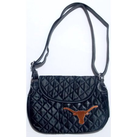 NCAA Texas Longhorns Quilted Saddlebag Purse Cross Body Bag Embroidered Logo Black Iron Cross Saddlebags