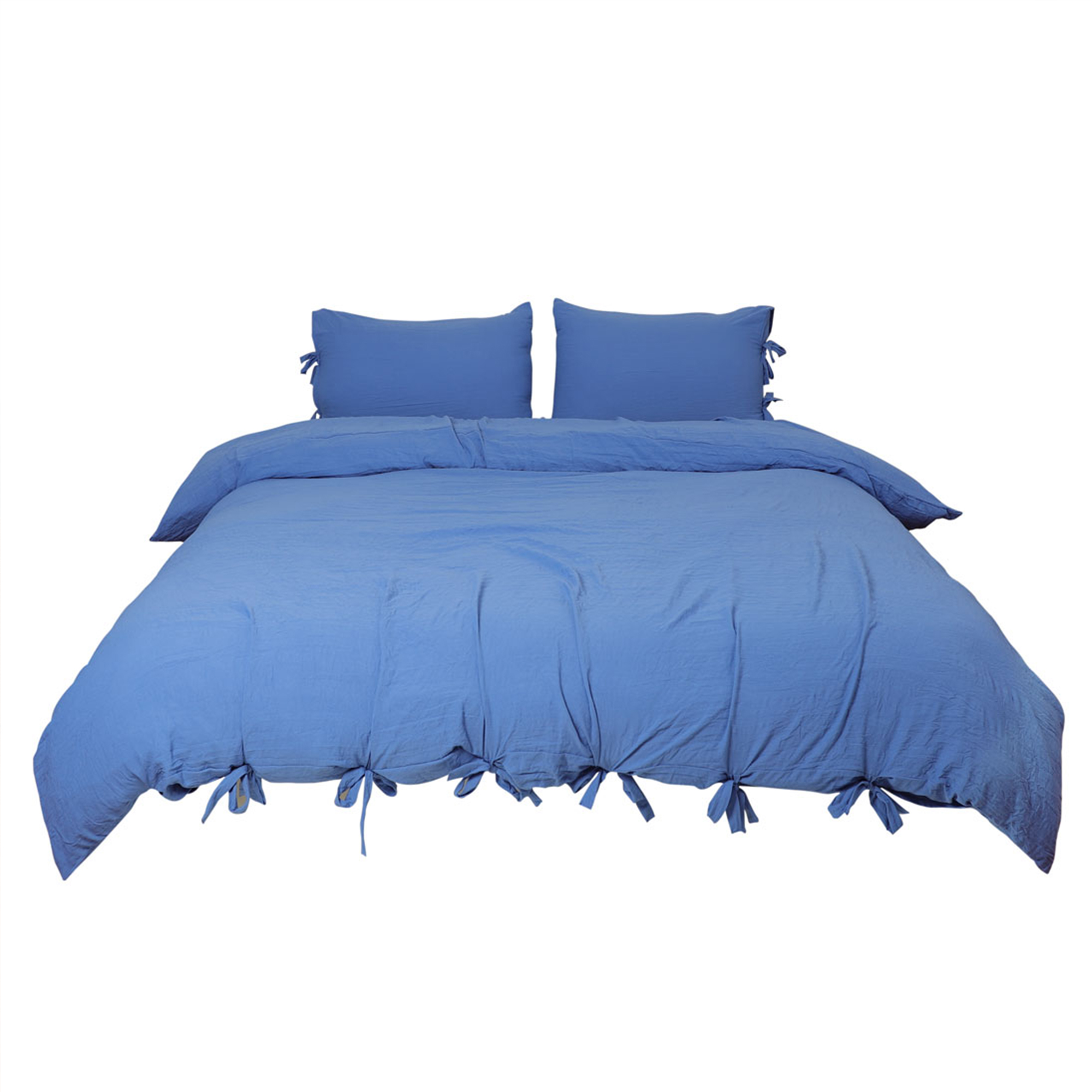 Luxury Duvet Cover and Sham Bedding Set Soft Washed Cotton Bowknot Tan King