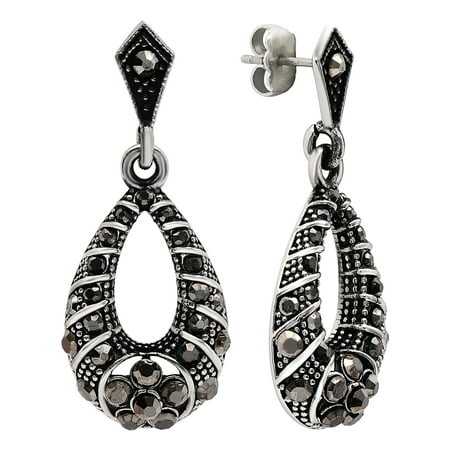 Women S Stainless Steel Drop Earrings With Black Stone Accents