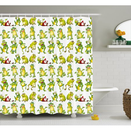 Nursery Shower Curtain Frogs In Different Positions Funny Happy Cute Expressions Faces Toads Cartoon Fabric Bathroom Set With Hooks Green Yellow Red