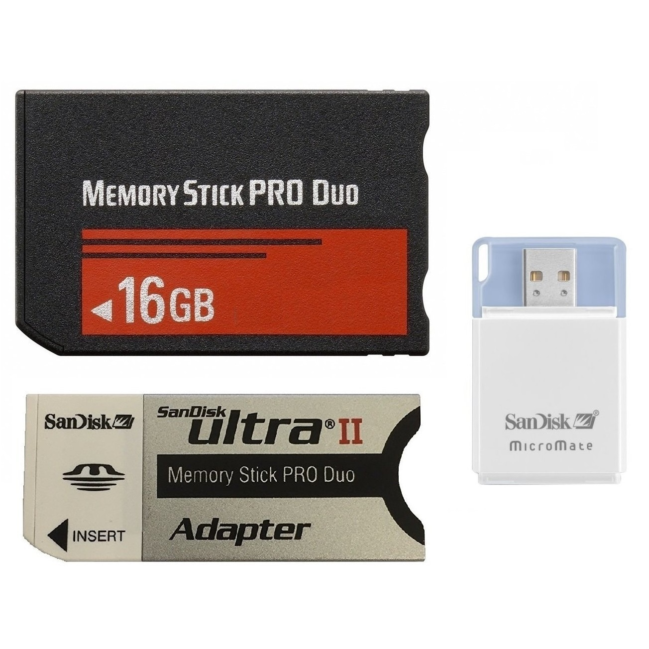 Generic 16 GB Memory Stick PRO Duo Flash Memory Card Plus Micromate reader and Adapter