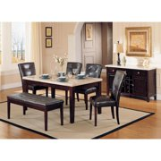White Faux Marble Top Espresso Dining Set 7Pcs Acme Furniture 17058 Britney