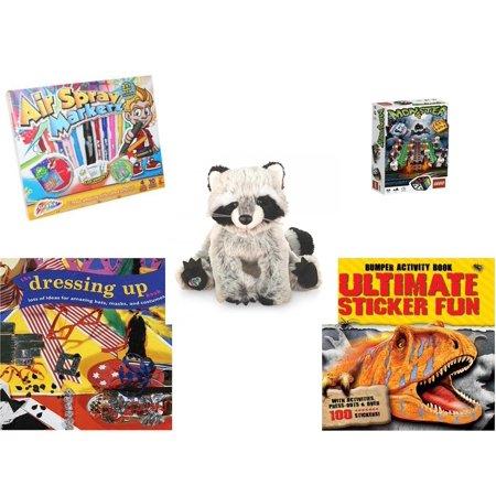Children's Gift Bundle [5 Piece] -  Grafix Air Spray Markerz - Lego s Monster 4  - Webkinz Raccoon 7
