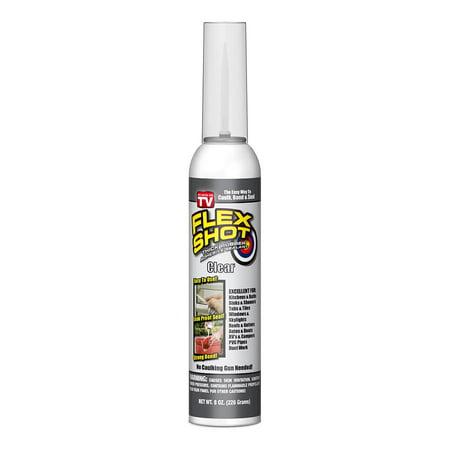 Flex Shot Rubber Adhesive Sealant Caulk, 8 oz, Clear