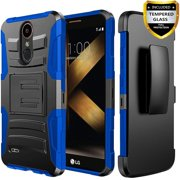 LG Stylo 4 Case, Dual Layers [Combo Holster] And Built-In Kickstand Bundled with [Temerped Glass Screen Protector] Hybird Shockproof And Circlemalls Stylus Pen (Camo)