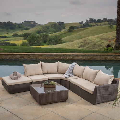 Del Mar 7 Piece Outdoor Sofa Sectional With Sunbrella Cushions