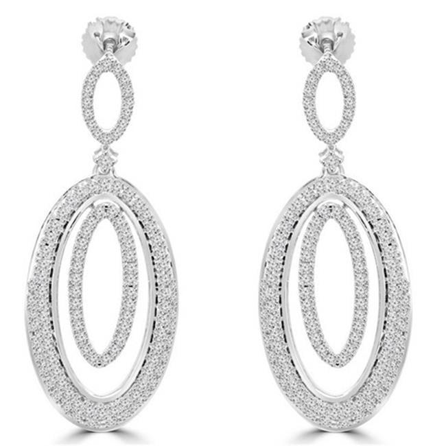 Antique Vintage Diamond Dangle Drop Earrings in 14K White Gold, 1 Carat