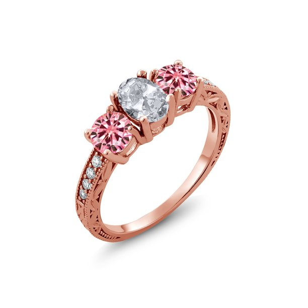 18K Rose Gold Plated Silver Ring White Topaz Pink Created Moissanite 1.00ct DEW