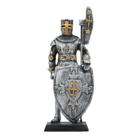 Ebros Gift Renaissance Medieval Crusader Knight with Bardiche Pole Axe and Large Shield Figurine 5