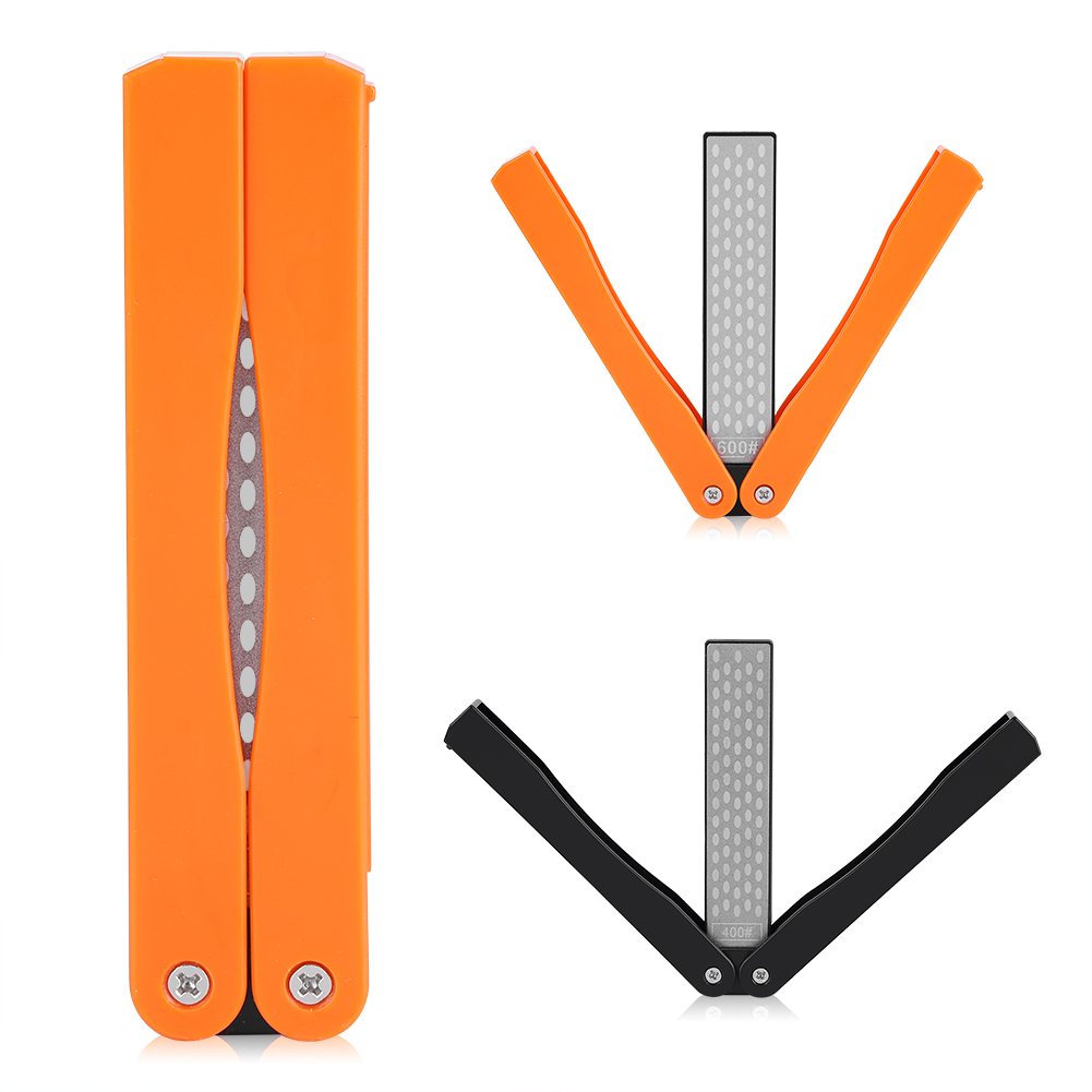 Dilwe Outdoor Camping Folding Double-Sided 400/600# Sharpener Stone Whetstone Stones Sharpening Tool, Double-Sided Sharpener Stone, Sharpener Stone