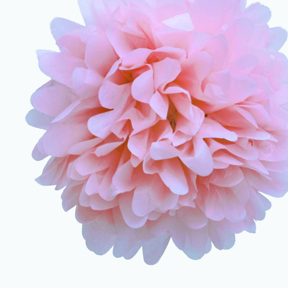 Quasimoon EZ-FLUFF 12'' Light Pink Tissue Paper Pom Poms Flowers Balls, Decorations (4 Pack) (Pre-Folded) by PaperLanternStore