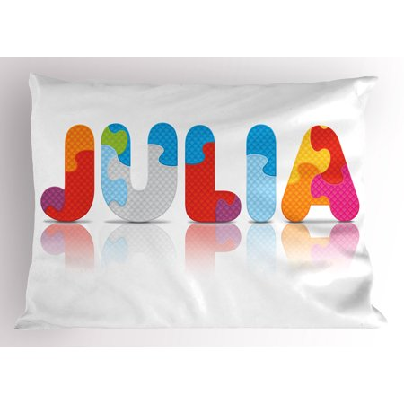 Julia Pillow Sham Puzzle Style Colorful Letters Preschool Theme Girl Name with Roman Mythology Roots, Decorative Standard King Size Printed Pillowcase, 36 X 20 Inches, Multicolor, by Ambesonne