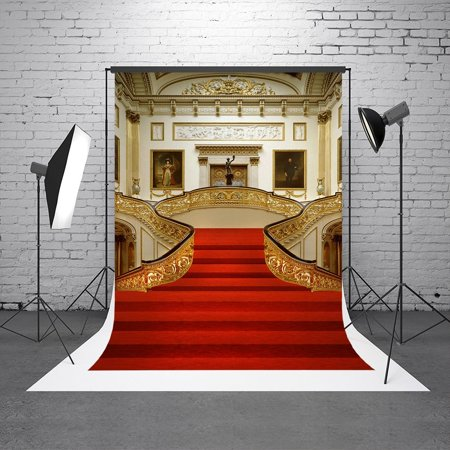 - GreenDecor Polyster 5X7ft Background Photography Palace Red Carpet Vintage Stair Backdrop