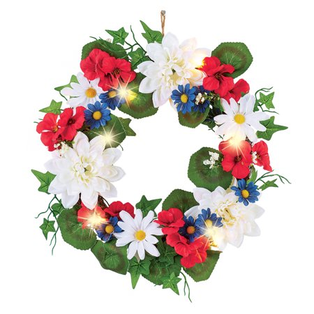 Lighted Patriotic Blossoms Wreath  - Festive Fourth of July or Memorial Day Decorative Accent
