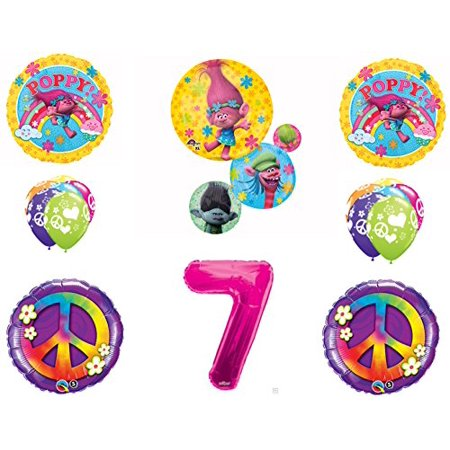 TROLLS PEACE 7th Happy Birthday Party Balloons Decoration Supplies Poppy Branch Movie (Peace Decorations)