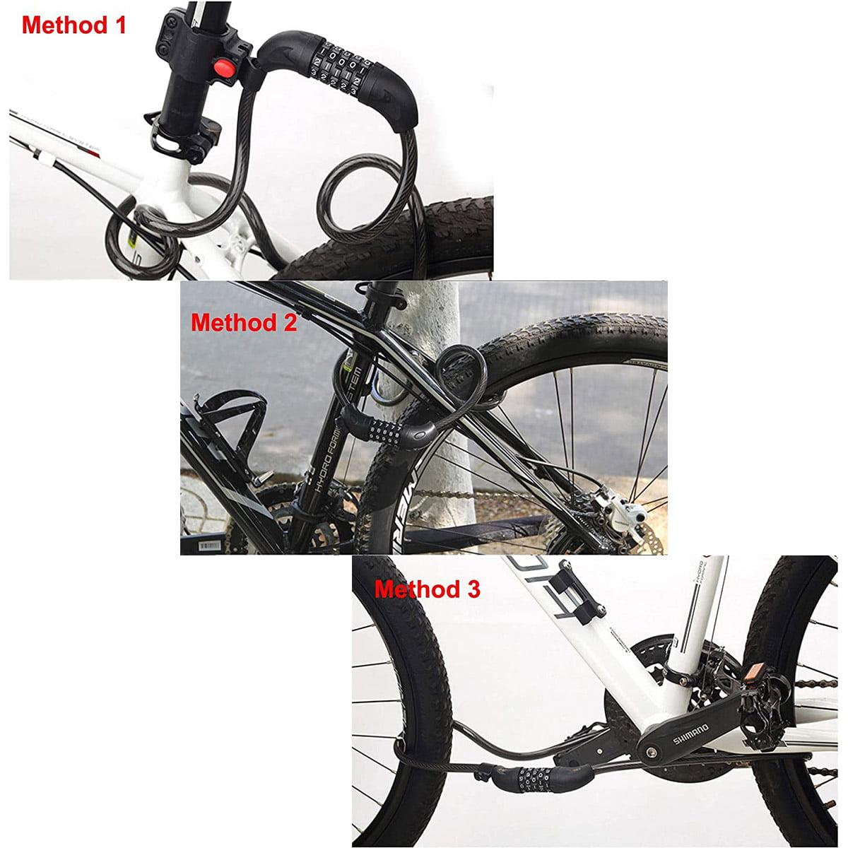 Bike Lock 5-Digit Ressetable Combination Chain Bicycle Lock 6Ft+Mounting Bracket
