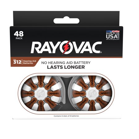 Rayovac Size 312 Hearing Aid Batteries, 48-Pack